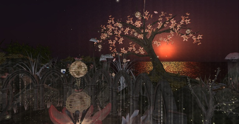 Gorgeous sunset behind the spirit tree at Ichi-go Ichi-e.