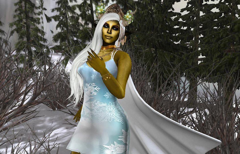 Winter White and Gold Second Life Bargain Fashions