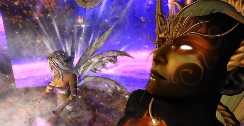Pic of the god and goddess flying high in the Lighthouse meditation chamber in Second Life