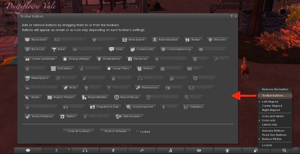 Second Life Firestorm Toolbar Buttons pic