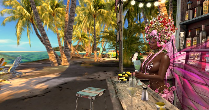 Pic of fairy making drinks in a tropical beach bar by the ocean.
