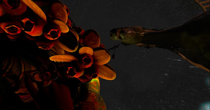 Pic of Faerie having a waking nightmare, expressed as digital art with her SL photography