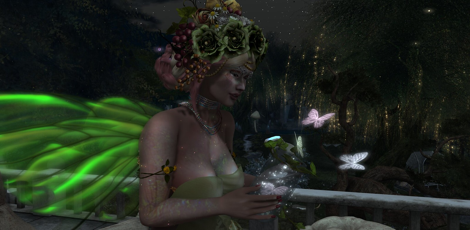 Pic of Faerie Prettyflower Vale and her magical butterfly jar