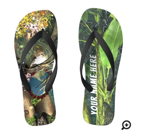 Photo of Mother Earth fantasy art flip flops, for sale in the Goddess Whispers shop on Zazzle
