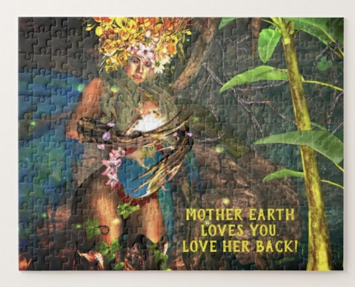 photo of Mother Earth Loves You fantasy art jigsaw puzzle, for sale in the Goddess Whispers shop on Zazzle