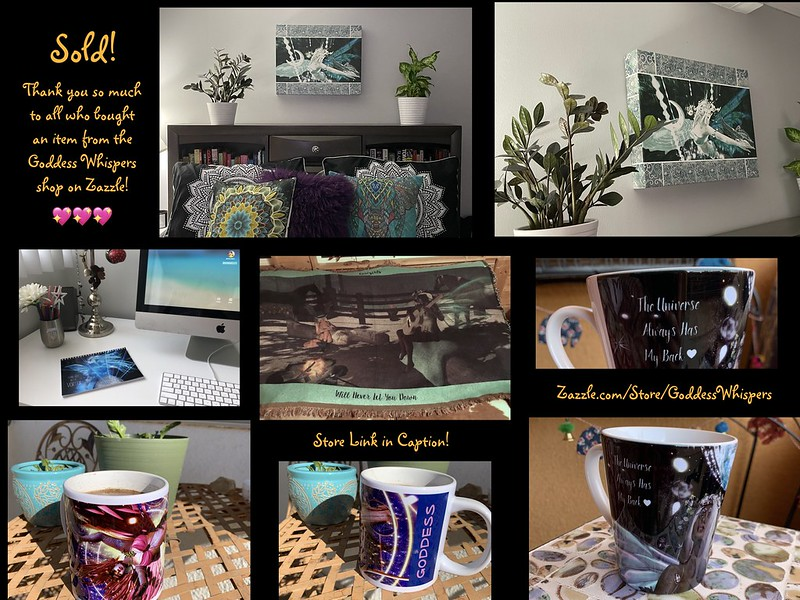 photo of items recently purchased from the Goddess Whispers shop on Zazzle at https://www.zazzle.com/store/goddesswhispers?rf=238107297772888052